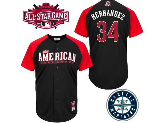 Mens Mlb 2015 All Star Seattle Mariners #34 Hernandez Black Jersey