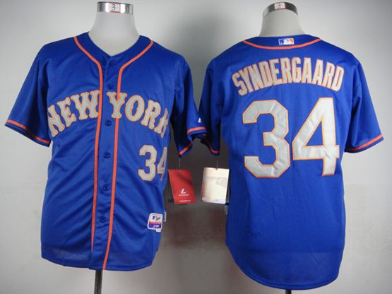 Mens Mlb New York Mets #34 Syndergaard Blue (gray Number) Jersey