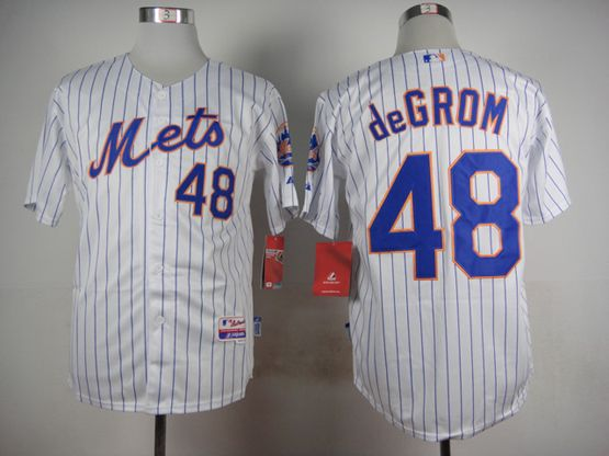 Mens mlb new york mets #48 degrom white (2015 new blue stripe) Jersey
