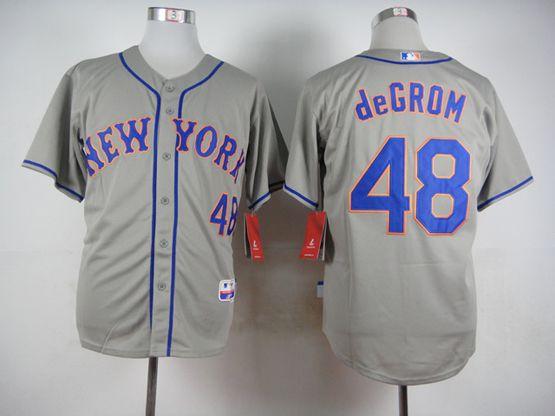 Mens Mlb New York Mets #48 Degrom Gray Jersey