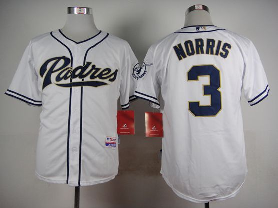 Mens mlb san diego padres #3 norris white Jersey
