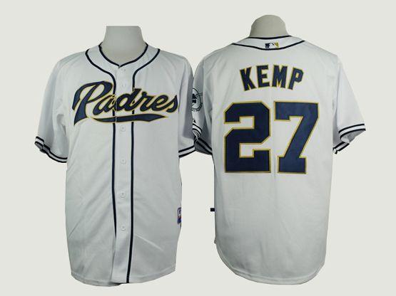 Mens mlb san diego padres #27 kemp white Jersey