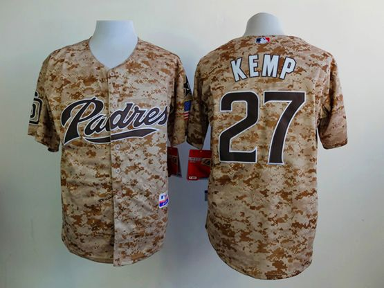 Mens mlb san diego padres #27 kemp camo (blue number) Jersey