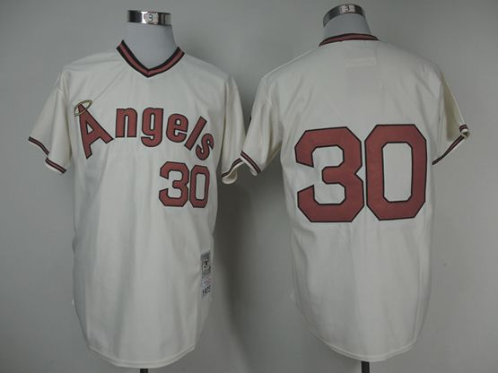 Mens mlb los angeles angels #30 (no name) cream throwbacks Jersey