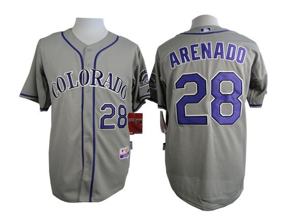 Mens Mlb Colorado Rockies #28 Arenado Gray Jersey