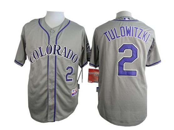 Mens Mlb Colorado Rockies #2 Tulowitzki Gray Jersey