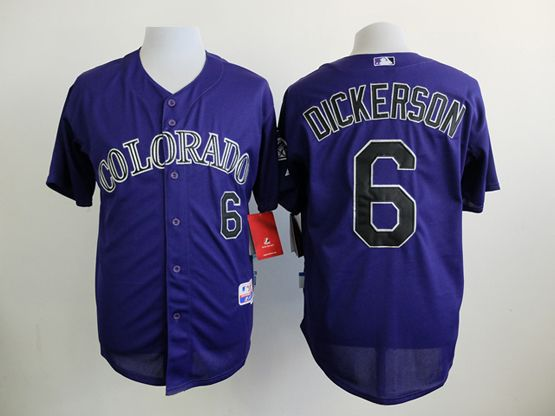 Mens mlb colorado rockies #6 dickerson purple Jersey