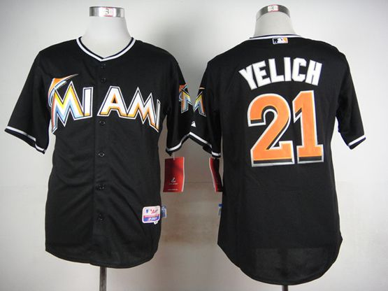 Mens mlb miami marlins #21 yelich black Jersey