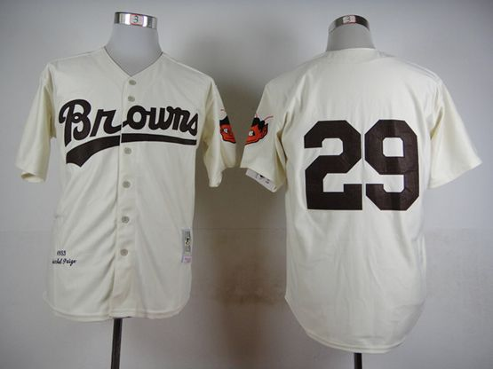 Mens Mlb St.louis Browns #29 Paige White 1953 Throwbacks Jersey(no Name)