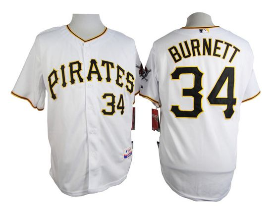 Mens mlb pittsburgh pirates #34 burnett white Jersey
