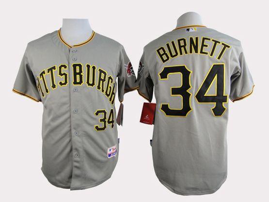 Mens Mlb Pittsburgh Pirates #34 Burnett Gray Jersey