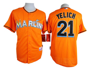 Mens mlb miami marlins #21 yelich orange Jersey