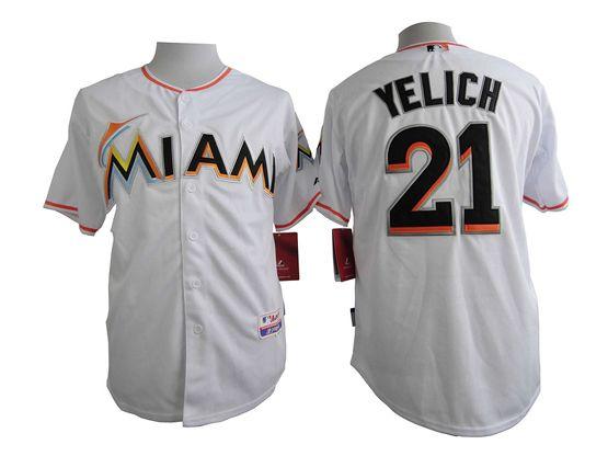 Mens Mlb Miami Marlins #21 Yelich White Jersey