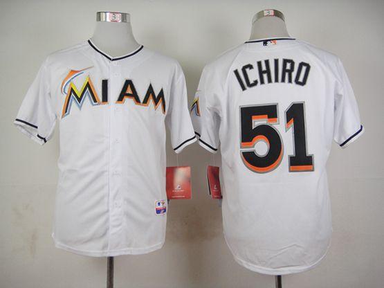 Mens mlb miami marlins #51 ichiro white Jersey