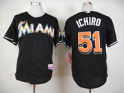 Mens mlb miami marlins #51 ichiro black Jersey