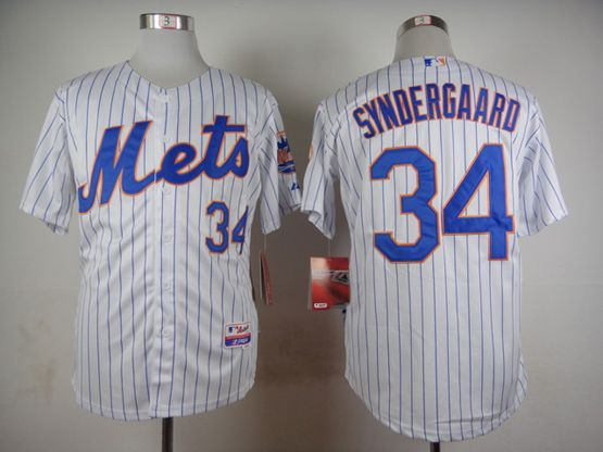 Mens mlb new york mets #34 syndergaard white (2015 new blue stripe) Jersey
