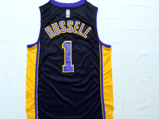 Mens Nba Los Angeles Lakers #1 Russell Dark Purple Jersey (p)