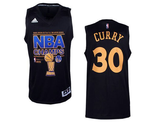 Mens Nba Golden State Warriors #30 Curry Black Championship Jersey