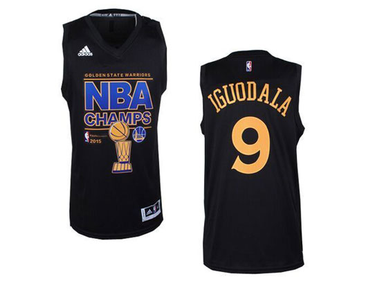 Mens Nba Golden State Warriors #9 Iguodala Black Championship Jersey