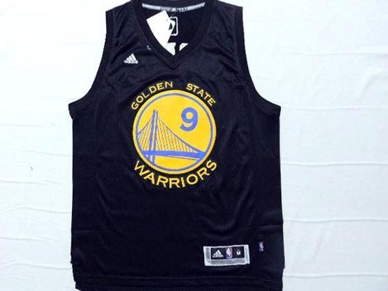 Mens Nba Golden State Warriors #9 Iguodala Black (yellow Name) Jersey