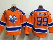 youth nhl edmonton oilers #99 Wayne Gretzky orange jersey