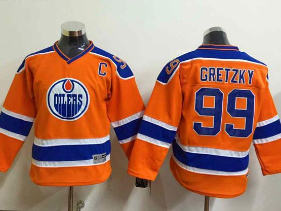 youth nhl edmonton oilers #99 Wayne Gretzky orange jersey