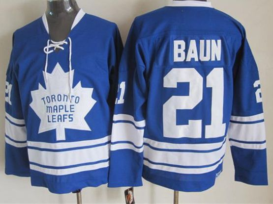 Mens nhl toronto maple leafs #21 baun blue ccm Jersey