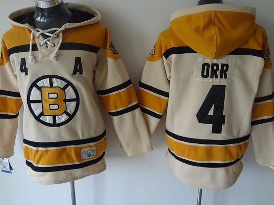mens nhl Boston Bruins #4 Bobby Orr cream color a patch hoodie jersey