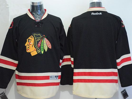 Mens reebok nhl chicago blackhawks blank black a patch 2015 winter classic Jersey