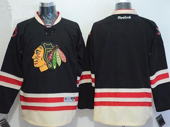 Mens reebok nhl chicago blackhawks blank black a patch 2015 winter classic Jersey