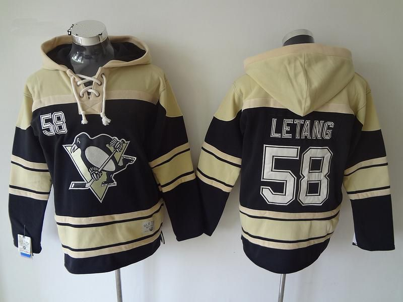 Mens nhl pittsburgh penguins #58 letang black white number hoodie Jersey