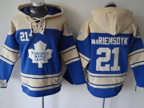 Mens nhl toronto maple leafs #21 van riemsdyk light blue hoodie Jersey