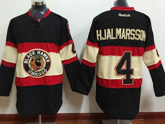 Mens reebok nhl chicago blackhawks #4 hjalmarsson black (new third) Jersey