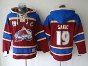 Mens nhl colorado avalanche #19 sakic red hoodie with c patch Jersey