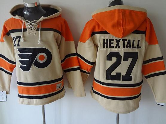 Mens Nhl Philadelphia Flyers #27 Hextall Cream Hoodie Jersey