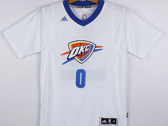 mens nba Oklahoma City Thunder #0 Russell Westbrook white (short sleeve) jersey
