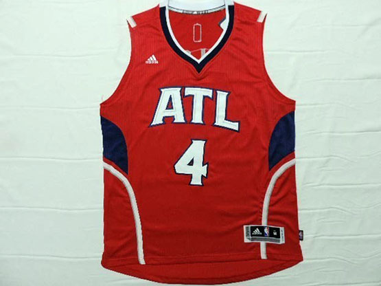 Mens Nba Atlanta Hawks #4 Millsap Red Throwback Jersey