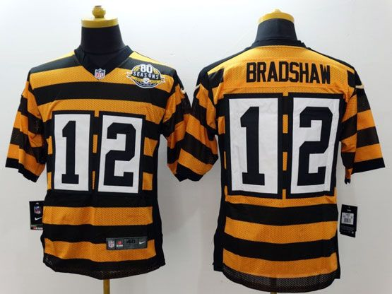 Mens Nfl Pittsburgh Steelers #12 Bradshaw Yellow&black 80th Elite Jersey