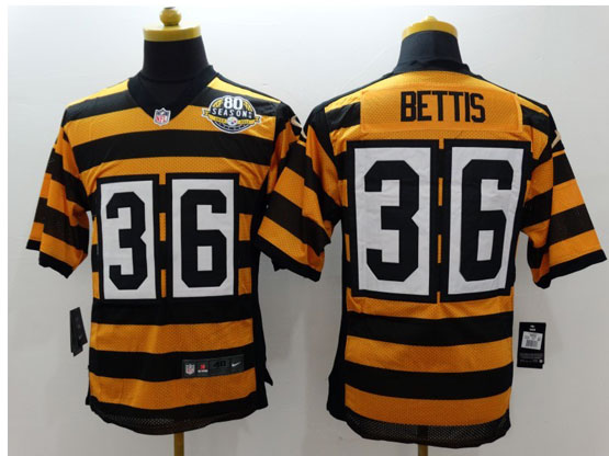 mens nfl Pittsburgh Steelers #36 Jerome Bettis yellow&black 80th elite jersey