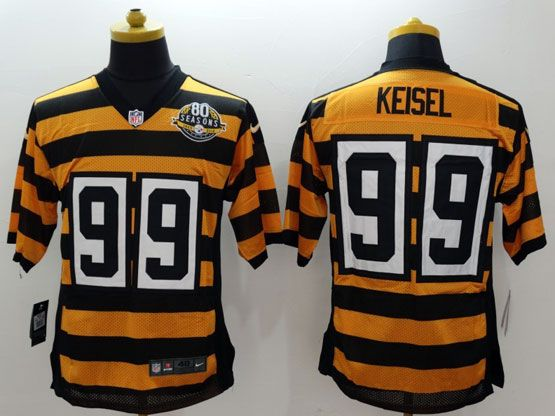 Mens Nfl Pittsburgh Steelers #99 Keisel Yellow&black 80th Elite Jersey