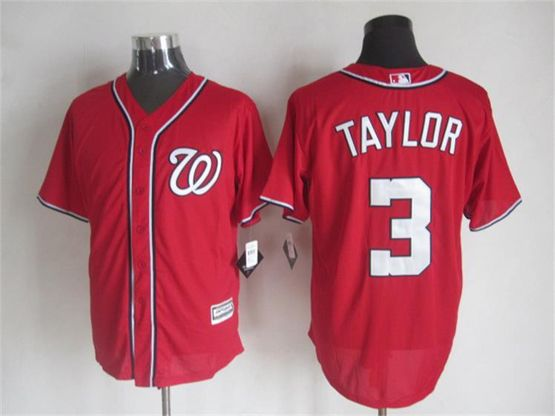 Mens mlb washington nationals #3 taylor red Jersey