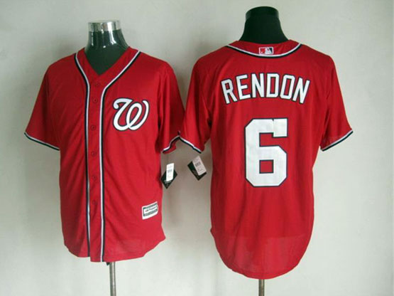 Mens mlb washington nationals #6 rendon red Jersey