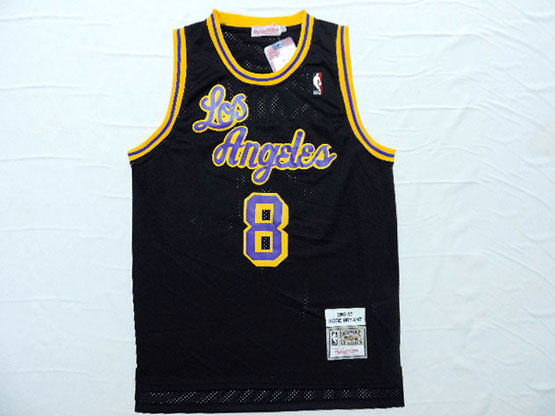 Mens Nba Los Angeles Lakers #8 Bryant Black Soul Swingman Jersey [blue Number] [mesh]