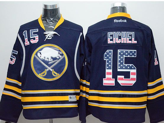 Mens reebok nhl buffalo sabres #15 jack eichel dark blue (usa flag fashion) Jersey