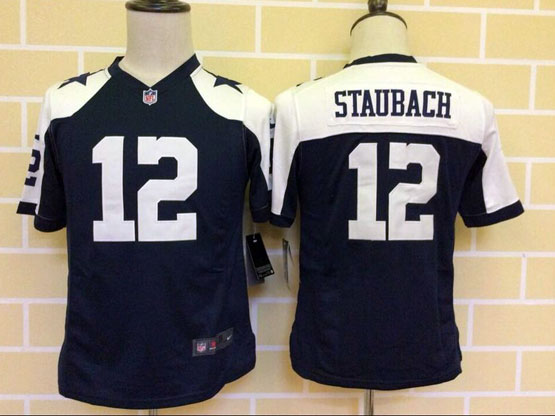Youth Nfl Dallas Cowboys #12 Staubach Blue Thanksgiving Game Jersey