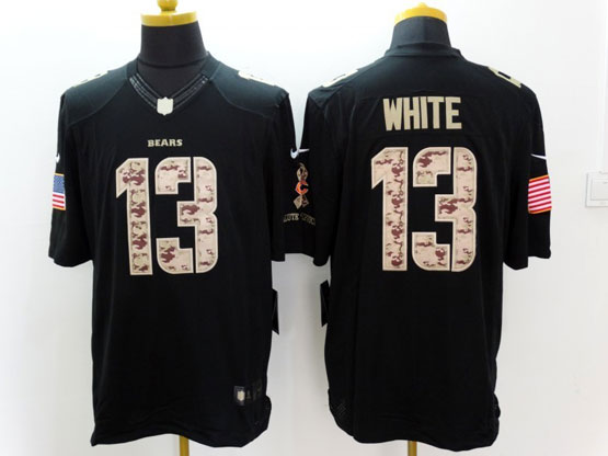 Mens Nfl Chicago Bears #13 White Blacklimited (salute To Service)jersey