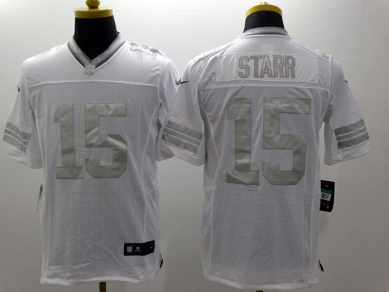 Mens Nfl Green Bay Packers #15 Starr White (silver Number) Platinum Limited Jersey
