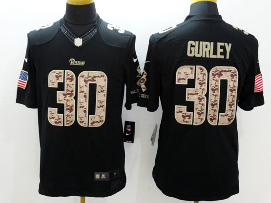 Mens   Los Angeles Rams #30 Todd Gurley Salute To Service Black Limited Jersey