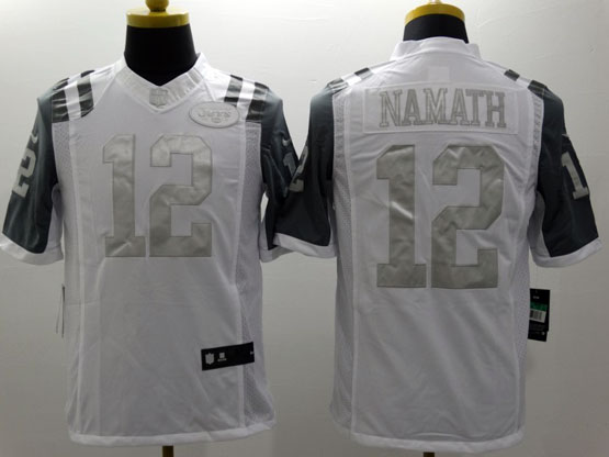 Mens Nfl New York Jets #12 Namath White (silver Number) Platinum Limited Jersey