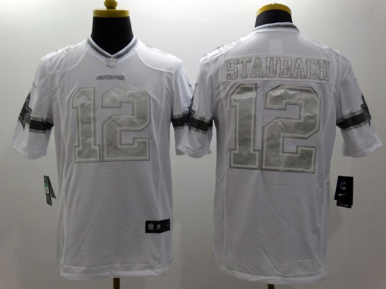 Mens Nfl Dallas Cowboys #12 Staubach White (silver Number) Platinum Limited Jersey